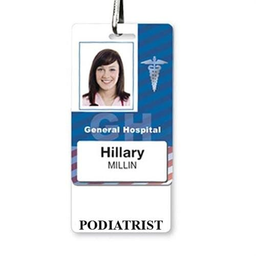 PODIATRIST Vertical Badge Buddy with White Border