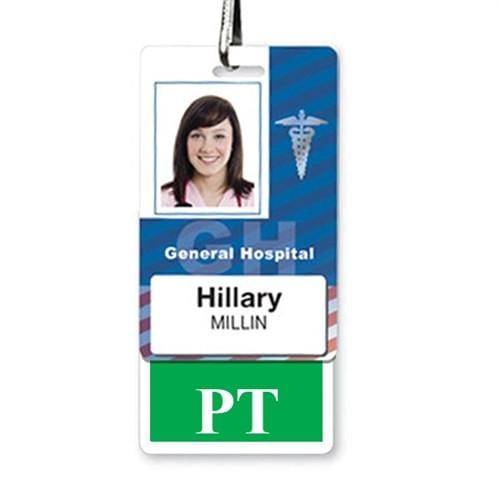 "Physical Therapist ""PT"" Vertical Badge Buddy with GREEN Border"