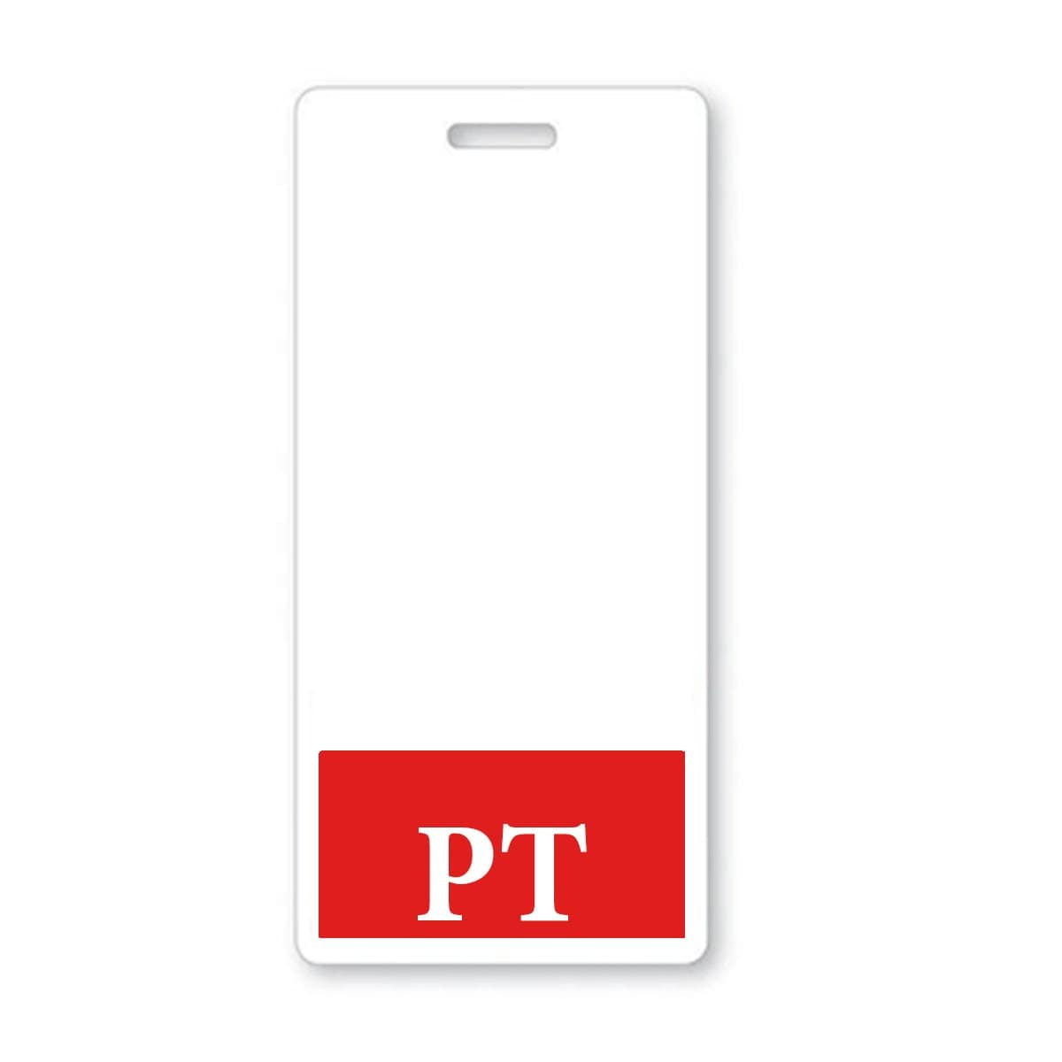 "Physical Therapist ""PT"" Vertical Badge Buddy with RED Border"