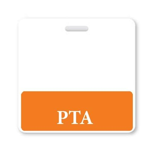 """PTA"" Horizontal Badge Buddy with Orange Border"
