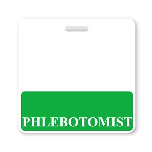 Phlebotomist Horizontal Badge Buddy with Green Border