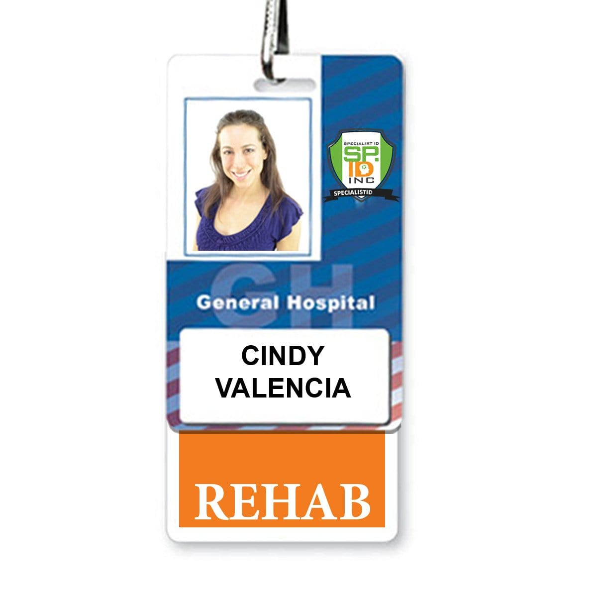 REHAB Vertical Badge Buddy with ORANGE Border