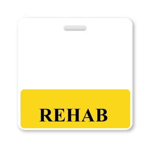 REHAB Horizontal Badge Buddy with Yellow Border