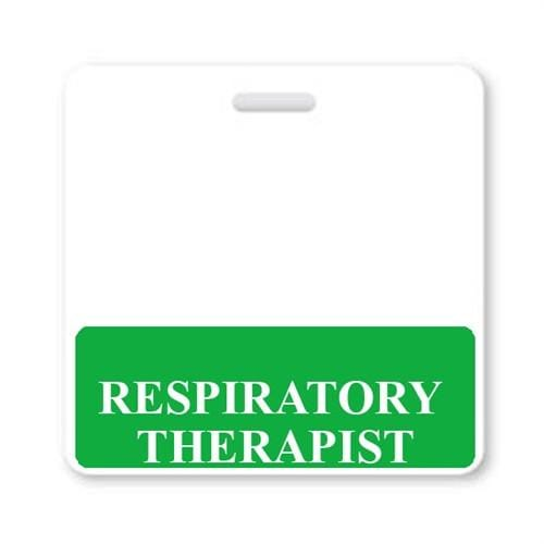 RESPIRATORY THERAPIST Horizontal Badge Buddy with GREEN Border