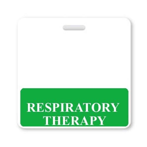 RESPIRATORY THERAPY Horizontal Badge Buddy with GREEN Border
