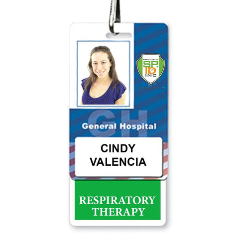 RESPIRATORY THERAPY Vertical Badge Buddy with GREEN Border