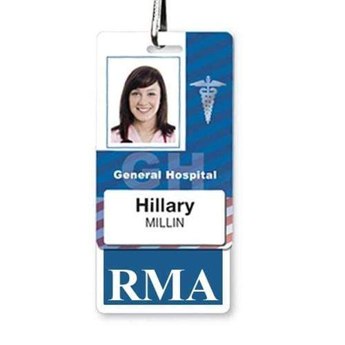 RMA Vertical Badge Buddy with Blue Border