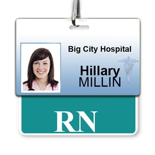 "Order Online, ""RN"" Horizontal Badge Buddy with colored border"
