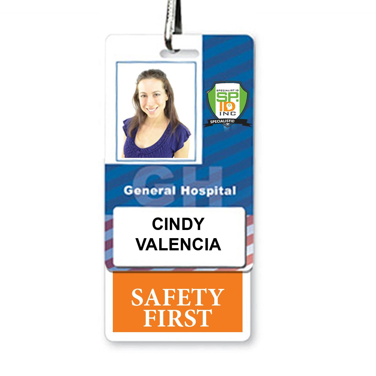 """SAFETY FIRST"" Vertical Badge Buddy with Orange Border"