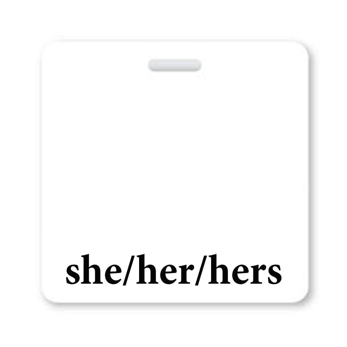 She/Her/Hers Horizontal Badge Buddy with White Border