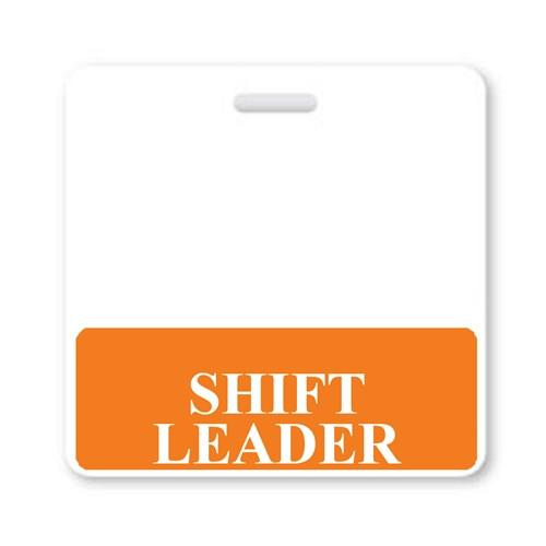 SHIFT LEADER Horizontal Badge Buddy with Orange Border