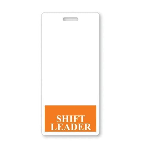 SHIFT LEADER Vertical Badge Buddy with Orange Border