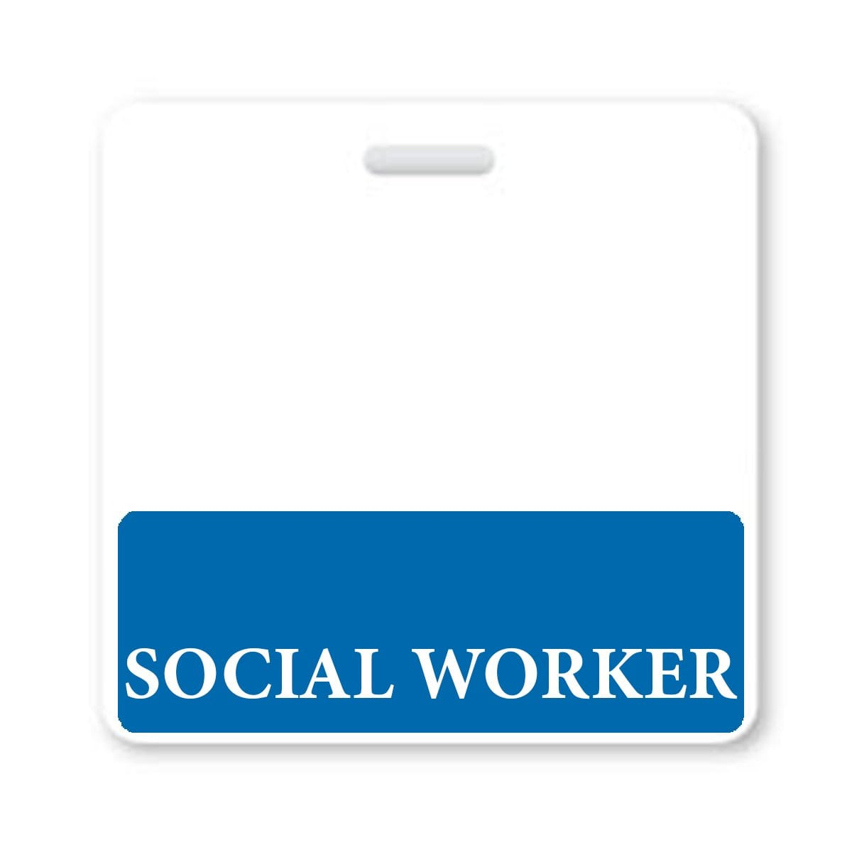 SOCIAL WORKER Horizontal Badge Buddy with Blue Border