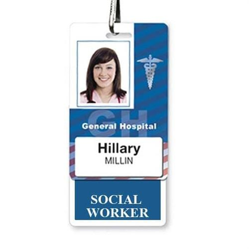 SOCIAL WORKER Vertical Badge Buddy with Blue Border