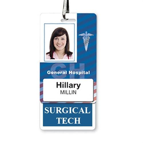 """SURGICAL TECH"" Vertical Badge Buddy with Blue border"