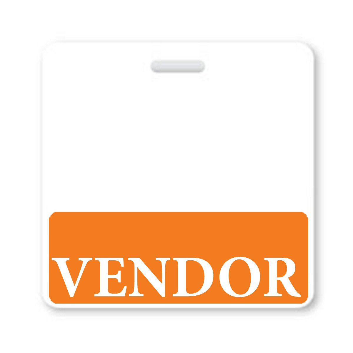 """Vendor"" Horizontal Badge Buddy with Orange Border"