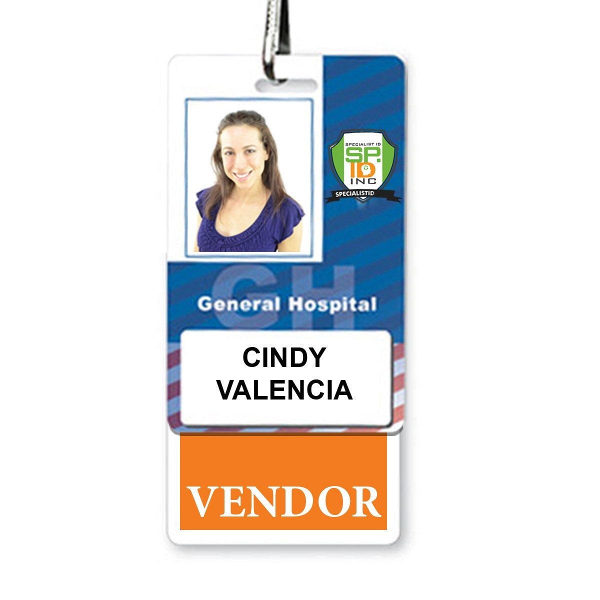 """Vendor"" Vertical Badge Buddy with Orange Border"