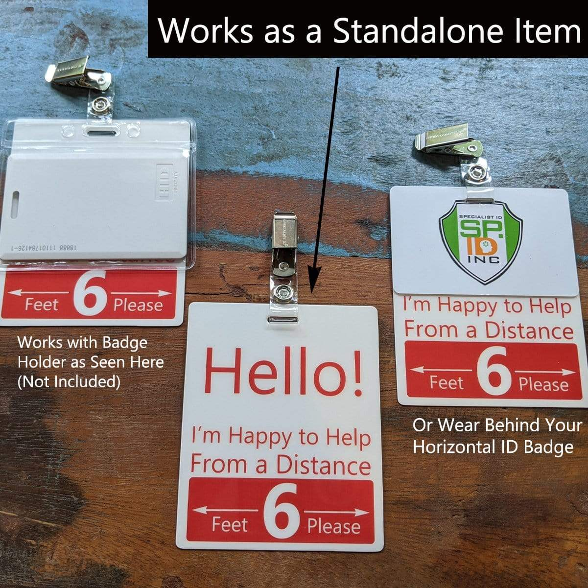 5 Pack - Extra Large Six Feet Social Distancing Badge Buddies with Clothing Friendly Badge Clips