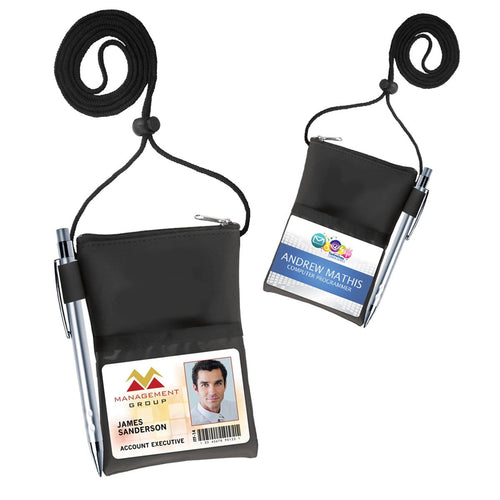 Vinyl Credential Neck Wallet with Adjustable Lanyard (1860-3101 or CW-6-BLK)