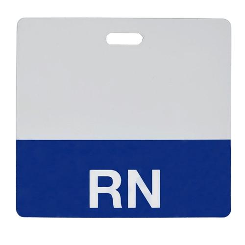 "Clear ""RN"" Registered Nurse Horizontal Badge Buddy with Blue Border"