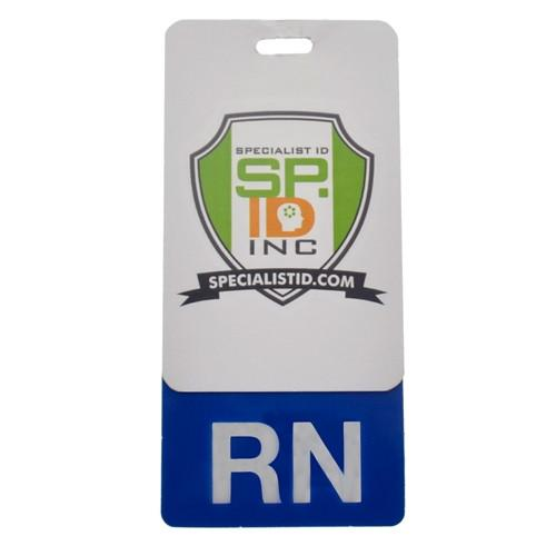 "Clear ""RN"" Registered Nurse Vertical Badge Buddy with Blue Border"