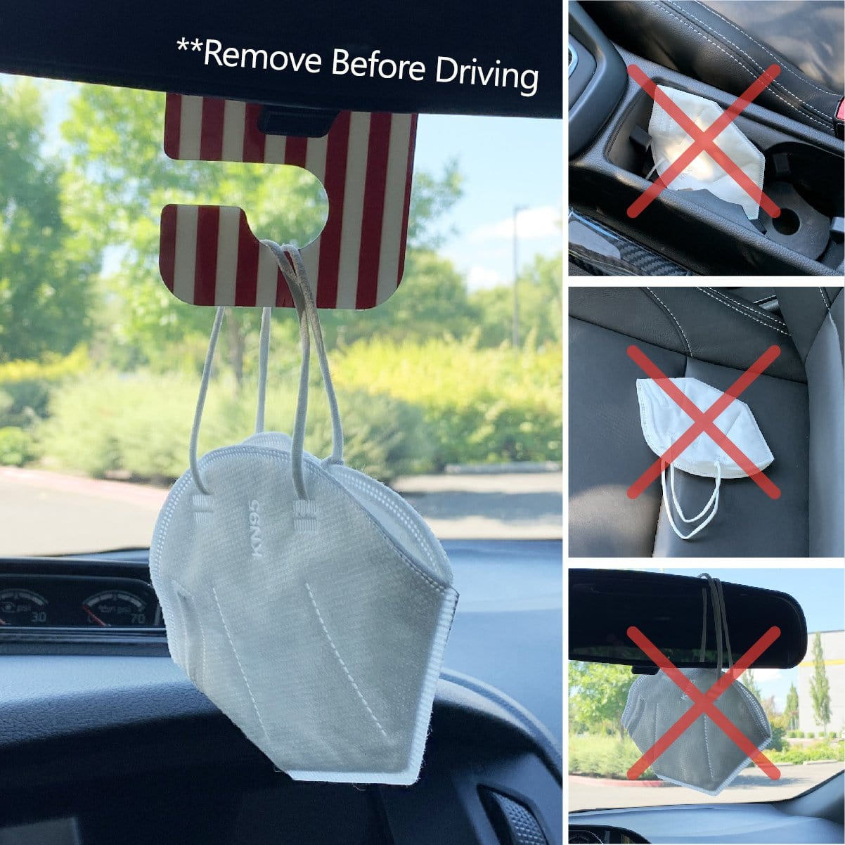 Mask Caddy™ Face Mask Hanger for Car Rear View Mirror or Closet Racks- USA Made - Ultimate Hook and Organizer for Your Facemasks