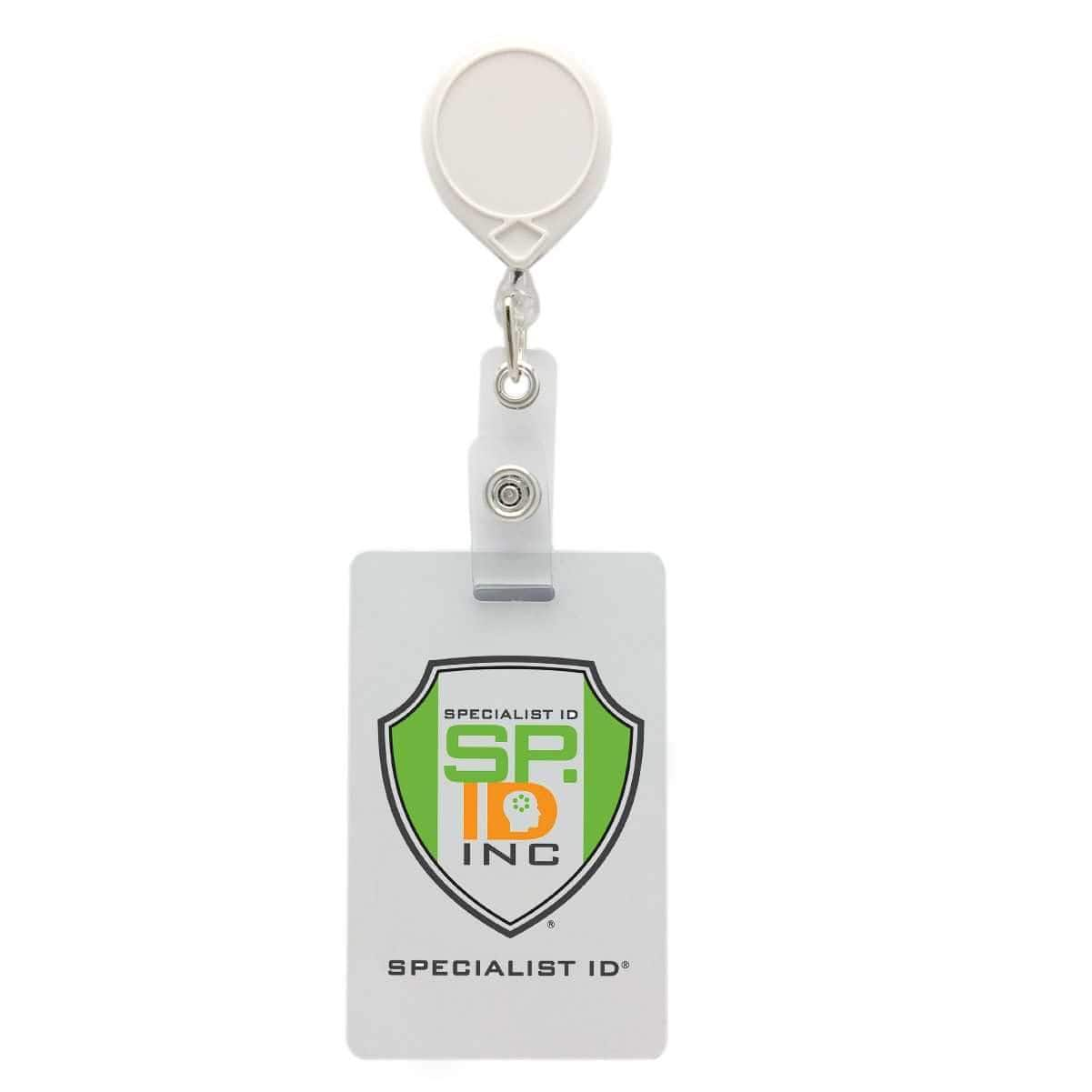 Key-Bak #66 Retractable Reel shown attached to a Specialist ID badge