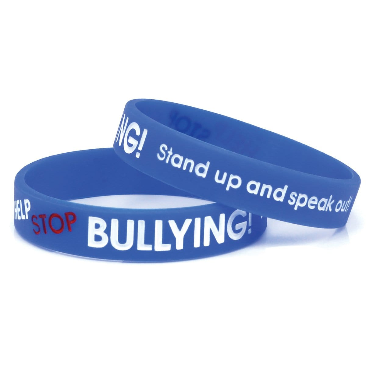 "Anti-Bullying ½"" Blue Silicone Wristband"