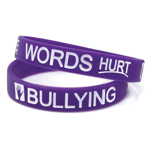 "Anti-Bullying ½"" Purple Silicone Wristband"