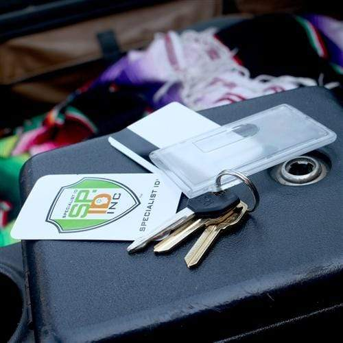 Two Card Vertical Clear Rigid Plastic Fuel Card and Badge Holder with Keychain (SPID-1220)