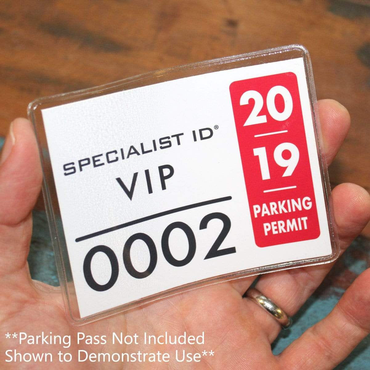 Large 4 x 3 Adhesive Badge Holders with Sticky Back - Clear Vinyl Parking Pass Holders for Windshield (CE-4P)