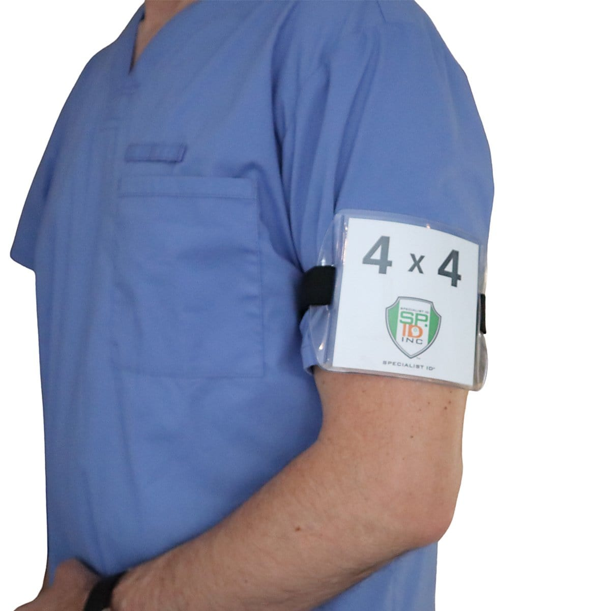 4x4 Immunization Record Badge Holder with Adjustable Arm Band & Clear Vinyl Plastic Sleeve for XL ID Name Tag