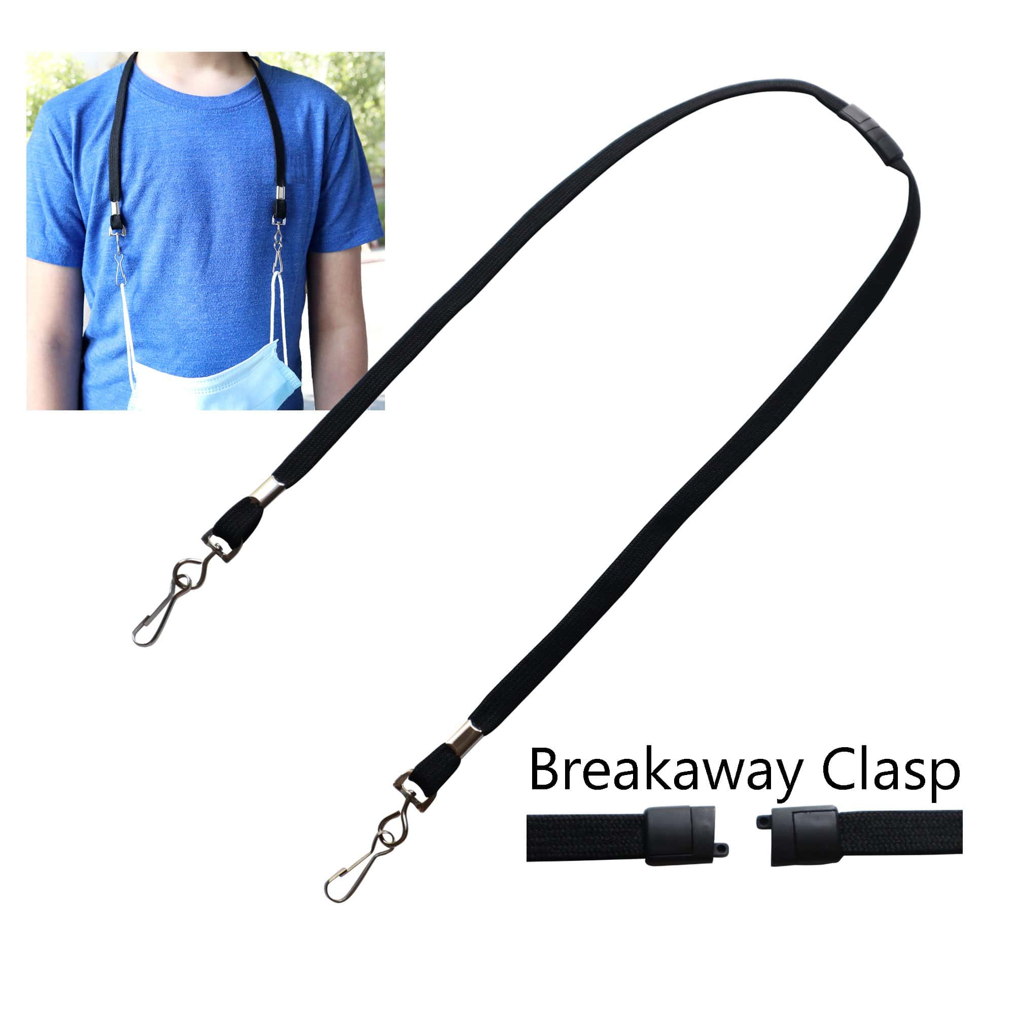 Kids Face Mask Lanyard / Hanger with Safety Breakaway Clasp - Short 12 Inch Length for Childrens Facemasks