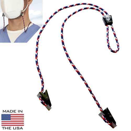 USA Made Adjustable Face Mask Lanyard - Woven Nylon Neck Hanger & Ear Saver with 2  Bulldog Clips