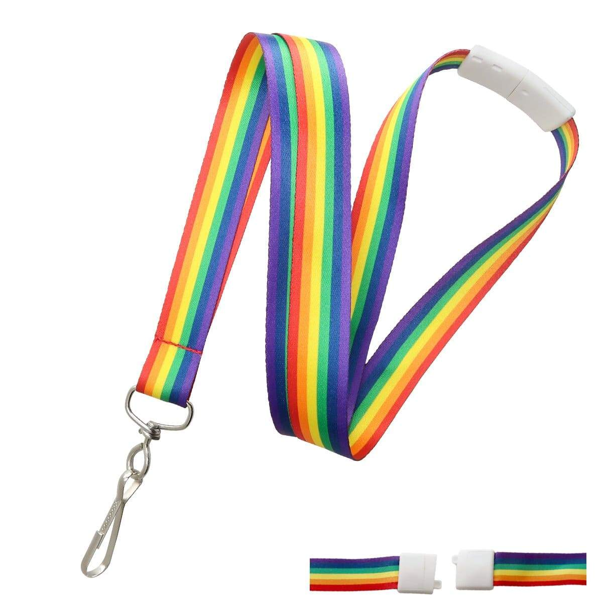 Rainbow Lanyard with Breakaway Clasp and Swivel Hook (P/N 2138-5260)