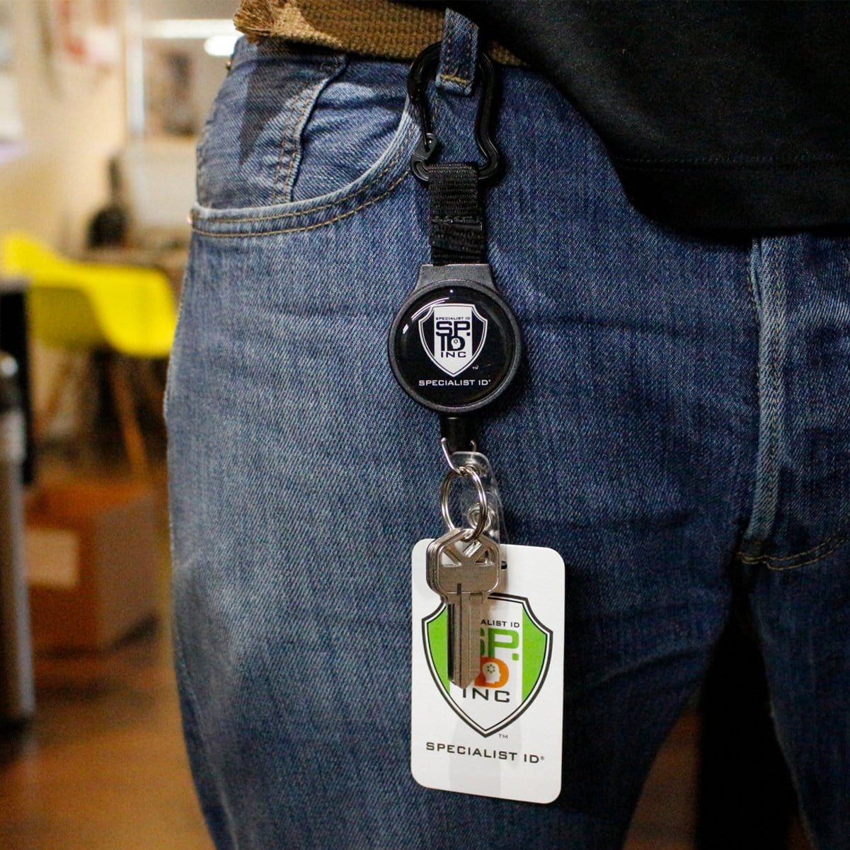 Heavy Duty SPID Key-Bak Mid-Size Carabiner Retractable Badge Reel with Card Strap & Key Ring (SPID-3330)