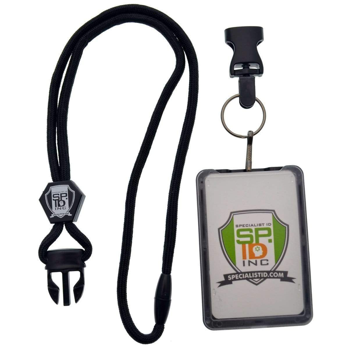 Top Loading THREE ID Card Badge Holder with Heavy Duty Lanyard w/ Detachable Metal Clip and Key Ring by Specialist ID