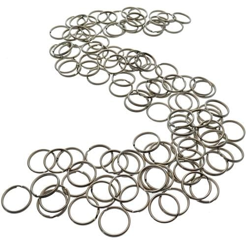 "100 Round Split Ring Key Chains - 1"" Inch Size - Heavy Duty Premium Key Rings in Bulk (SPID-9230)"