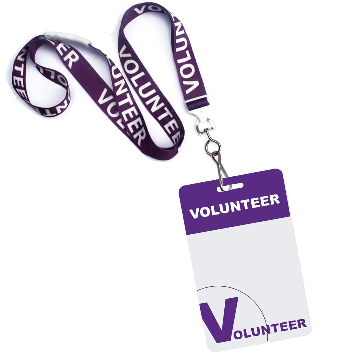 10 Pack - Volunteer Lanyard with Badge Set - Pre-Printed Volunteer Design - Dual Sided, Purple
