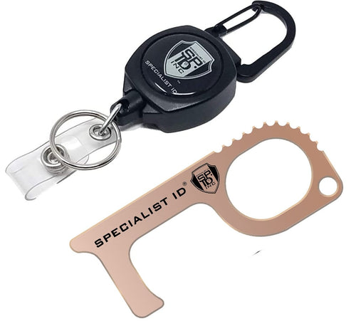 Touch Free Key Tool with Carabiner Reel, Keychain & ID Holder - Hands Free EDC Multitool -USA Made