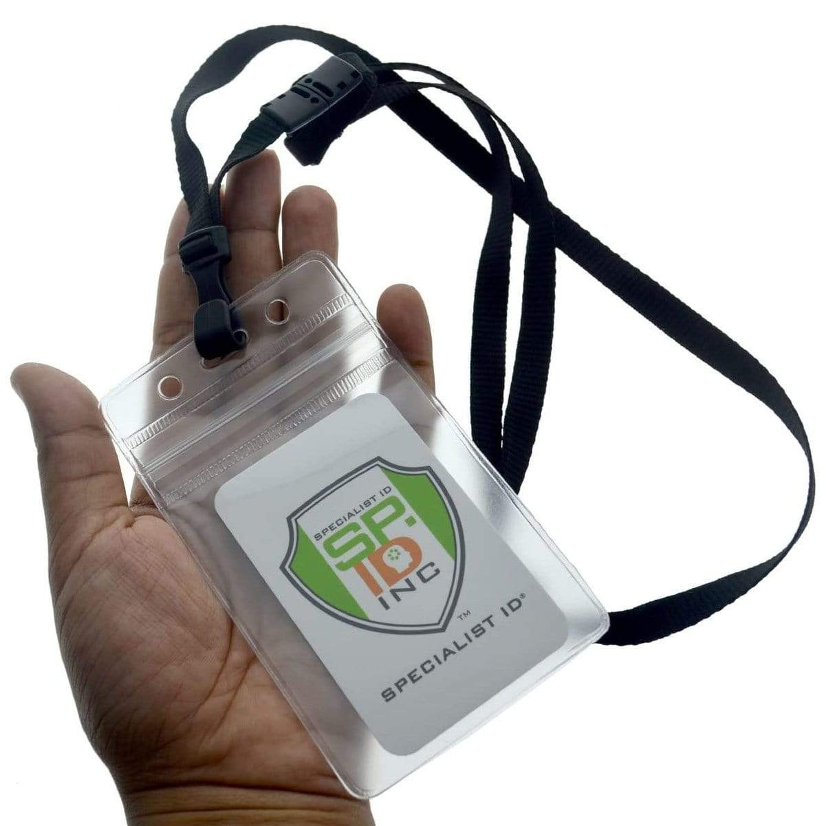 Clear Vertical Vinyl Badge Holder with Zipper (SPID-VZVCLR)
