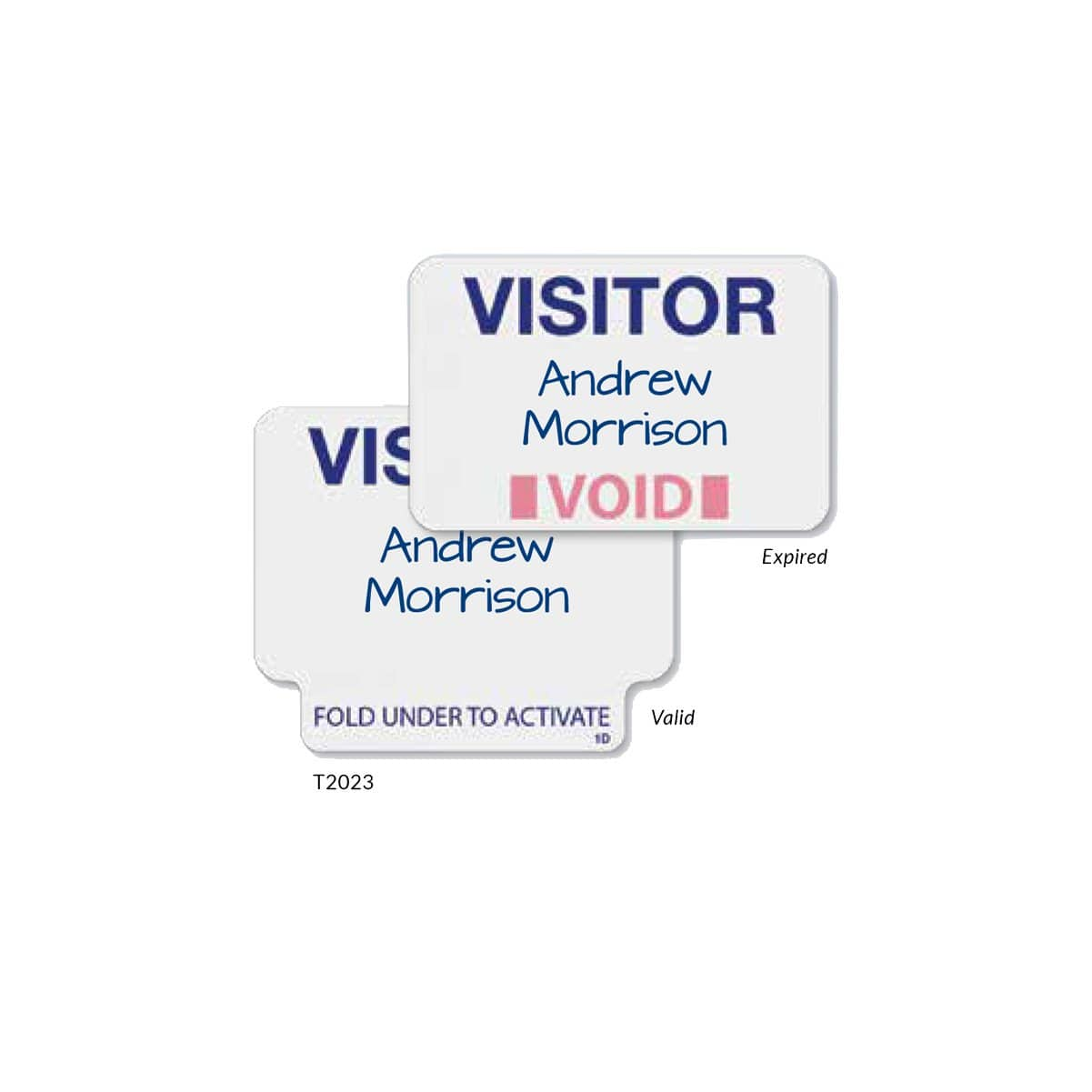 Visitor Manual ONEstep Quick Tab TimeBadge, Box of 500 (P/N T2023)