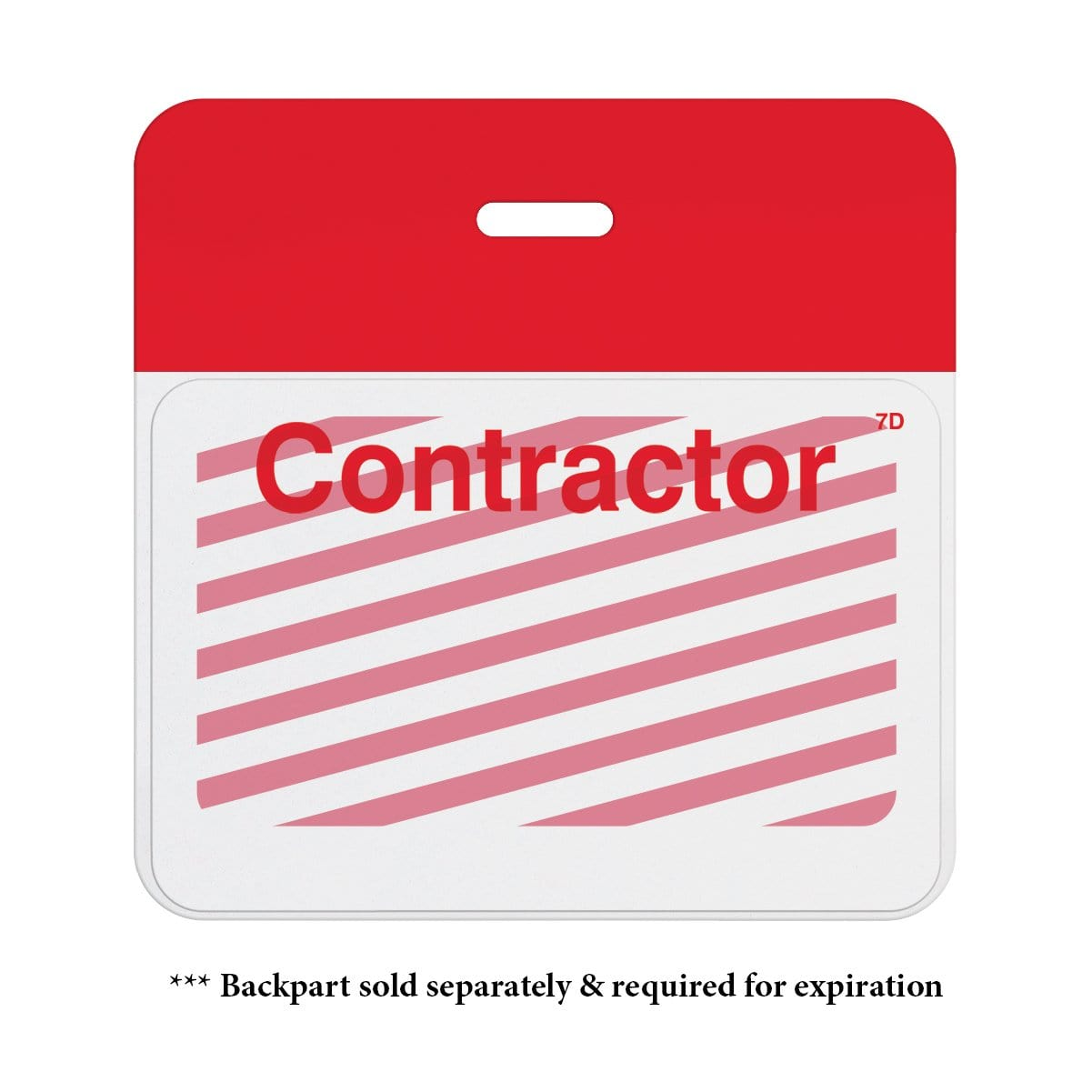 "Manual One-week Expiring TIMEbadge ""CONTRACTOR"" (P/N T6205)"