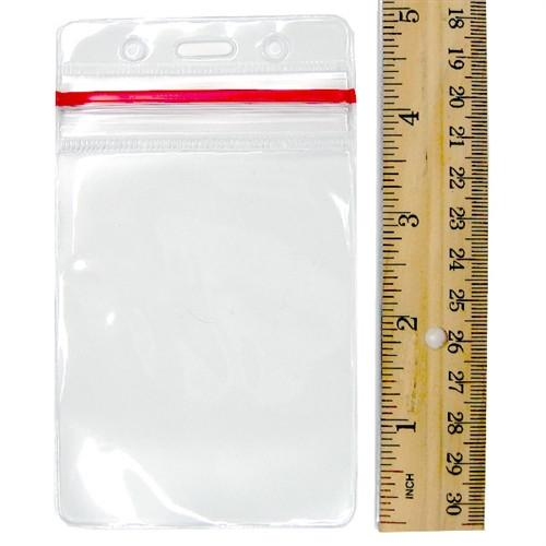 Clear Vertical Vinyl ID Holder with a Zipper Top (VBH-V-ZIP)