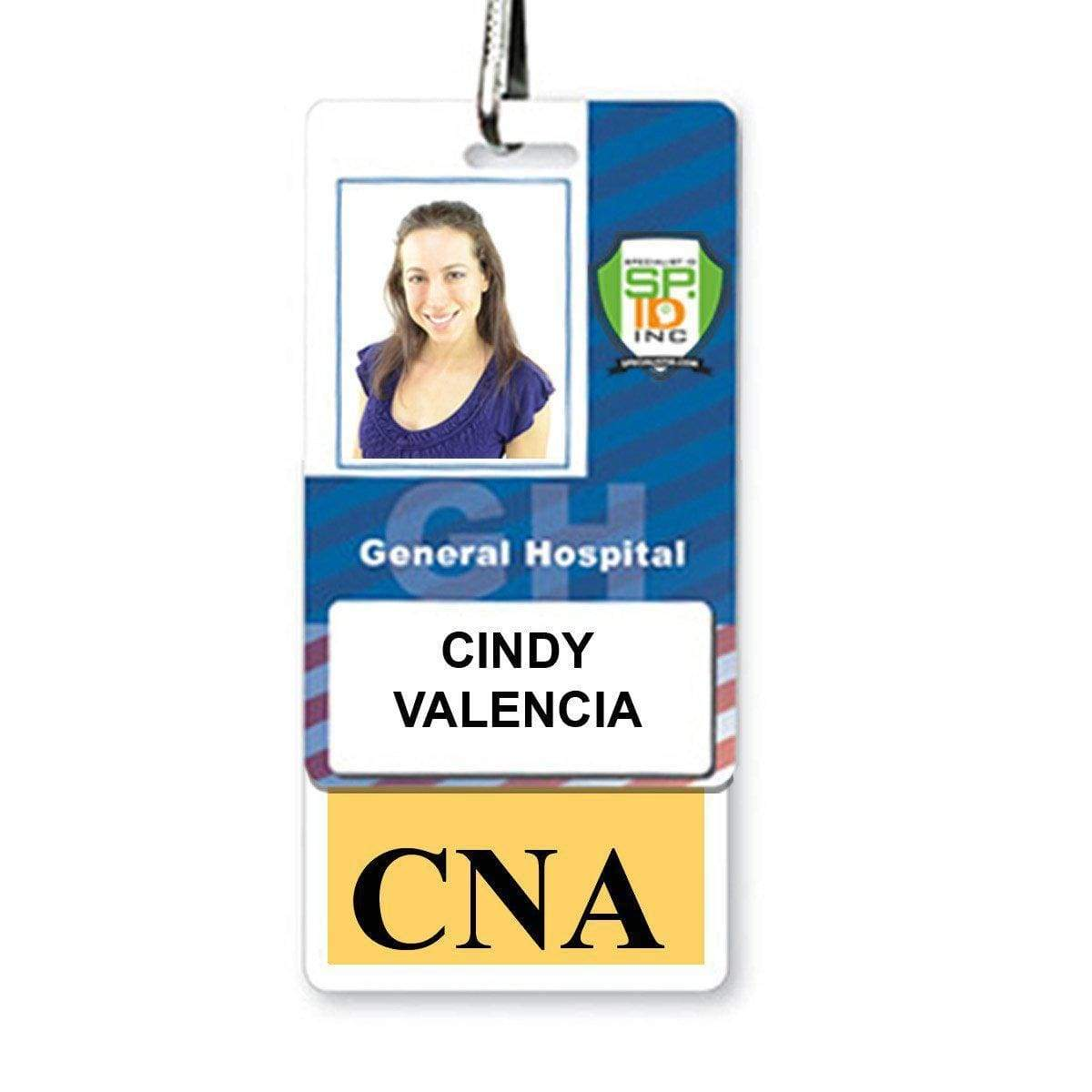 """CNA"" Vertical Badge Buddy with Yellow Border"