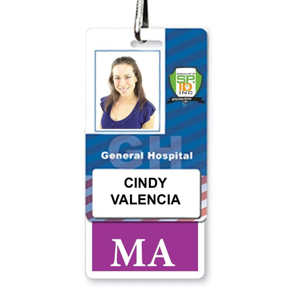 "Medical Assistant ""MA"" Vertical Badge Buddy with Purple Border"