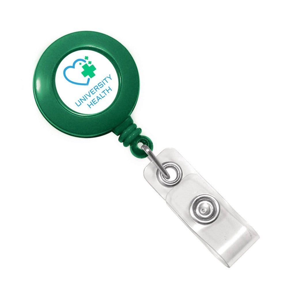 Green Retractable Badge Reel With Custom Printed Logo