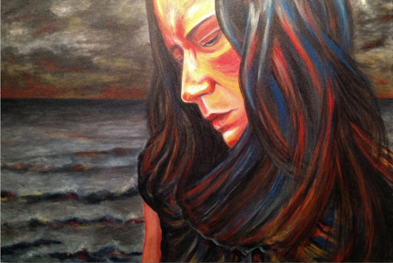 Artist Cree Stevens self portrait painting