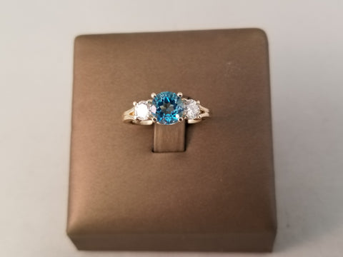 14KT BLUE TOPAZE AND DIAMOND RING