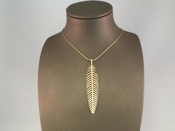 18KT DIAMOND FEATHER PENDANT BY KATTAN